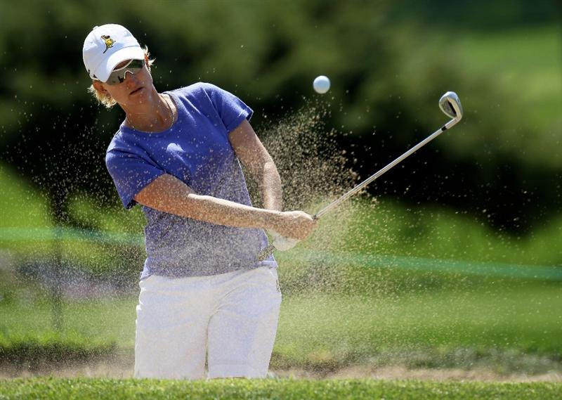 CARLSBAD, CA - MARCH 27:  Karrie Webb of  Australia hits from a bunker on the second hole during the third round of the Kia Classic Presented by J Golf at La Costa Resort and Spa on March 27, 2010 in Carlsbad, California. (Photo by Stephen Dunn/Getty Images)