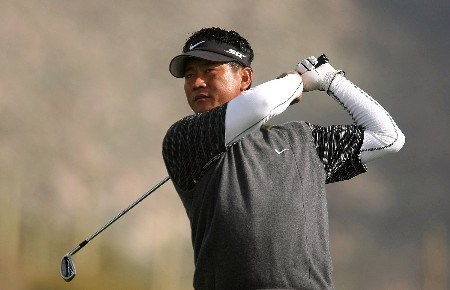 MARANA, AZ - FEBRUARY 23:  K.J. Choi of South Korea hits his approach shot on the 13th hole during the quarterfinal matches of the WGC-Accenture Match Play Championship at The Gallery at Dove Mountain on February 23, 2008 in Marana, Arizona.  (Photo by Scott Halleran/Getty Images)