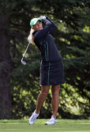 CALGARY, AB - SEPTEMBER 05 : Suzann Pettersen of Norway hits her tee shot on the second hole during the third round of the Canadian Women's Open at Priddis Greens Golf & Country Club on September 5, 2009 in Calgary, Alberta, Canada. (Photo by Hunter Martin/Getty Images)