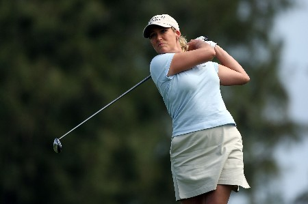 KAHUKU, HI - FEBRUARY 14:  Cristie Kerr hits her tee shot on the seventh hole during the first round of  the SBS Open on February 14, 2008  at the Turtle Bay Resort in Kahuku, Hawaii.  (Photo by Andy Lyons/Getty Images)