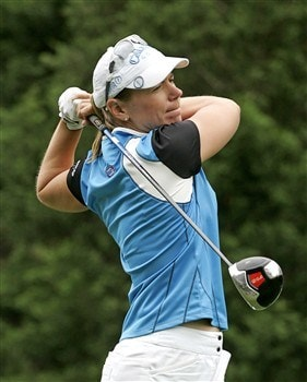 WILLIAMSBURG, VA - MAY 10: Annika Sorenstam of Sweden hits her tee shot on the 7th hole during the third round of the Michelob Ultra Open at Kingsmill Resort & Spa on May 10, 2008 in Williamsburg, Virginia. (Photo by Hunter Martin/Getty Images)