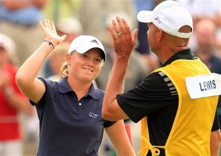 EDINA, MN - JUNE 28:  Stacy Lewis celebrates with her father/caddie Dale after a birdie putt on the 18th hole during the third round of the 2008 U.S. Women's Open at Interlachen Country Club on June 28, 2008 in Edina, Minnesota.  (Photo by Scott Halleran/Getty Images)