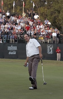 Bart Bryant celebrates after sinking a birdie putt on the 18th green to win THE TOUR Championship at East Lake Golf Club in Atlanta, Georgia on November 6, 2005.Photo by Sam Greenwood/WireImage.com