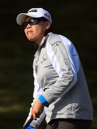 HUIXQUILUCAN, MEXICO - MARCH 21:  Dorothy Delasin of the USA watches her tee shot on the 10th hole during the second round of the MasterCard Classic at the BosqueReal Country Club on March 21, 2009 in Huixquiucan, Mexico.  (Photo by Scott Halleran/Getty Images)