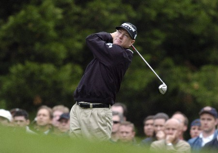 Steve Flesch tees off the par three 6th hole during the first round of the Wachovia Championship on Thursday, May 5, 2005 at the Quail Hollow Club in Charlotte, North CarolinaPhoto by Marc Feldman/WireImage.com