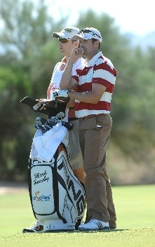 SCOTTSDALE, AZ - OCTOBER 21:  Mark Hensby waits to hit his approach shot into the 9th green during the fourth and final round of the Fry's Electronics Open on October 21, 2007at the Grayhawk Golf Club in Scottsdale, Arizona  (Photo by Marc Feldman/Getty Images)
