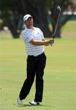 DORAL, FL - MARCH 14:  Padraig Harrington of Ireland plays his second shot at the 1st hole during the third round of the World Golf Championships-CA Championship at the Doral Golf Resort & Spa on March 14, 2009 in Doral, Florida  (Photo by David Cannon/Getty Images)