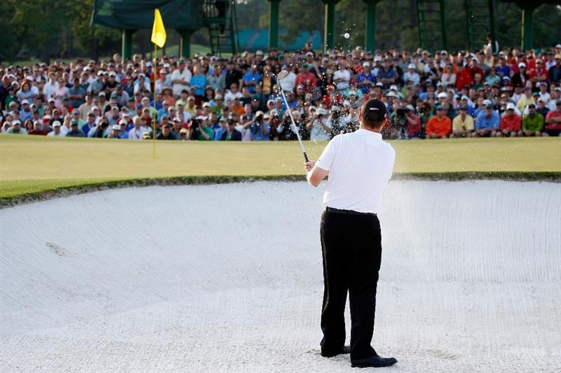 AUGUSTA, GA - APRIL 12:  Chad Campbell plays a bunker shot on the first sudden death playoff hole during the final round of the 2009 Masters Tournament at Augusta National Golf Club on April 12, 2009 in Augusta, Georgia.  (Photo by Jamie Squire/Getty Images)