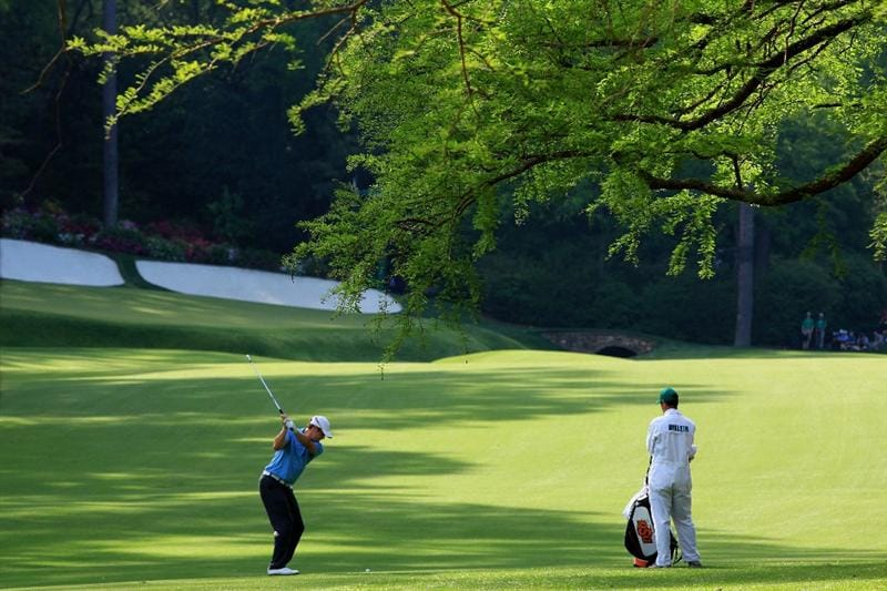 AUGUSTA, GA - APRIL 07:  Peter Uihlein hits his second shot on the 13th hole during the first round of the 2011 Masters Tournament at Augusta National Golf Club on April 7, 2011 in Augusta, Georgia.  (Photo by David Cannon/Getty Images)