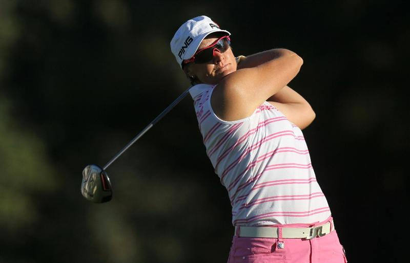 RANCHO MIRAGE, CA - APRIL 01:  Maria Hjorth of Sweden hits her tee shot on the second hole during the second round of the Kraft Nabisco Championship at Mission Hills Country Club on April 1, 2011 in Rancho Mirage, California.  (Photo by Stephen Dunn/Getty Images)