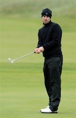 CARNOUSTIE, SCOTLAND - OCTOBER 09:  TV football pundit Jamie Redknapp putting on the 18th green during the third round of The Alfred Dunhill Links Championship at the Carnoustie Golf Links on October 9, 2010 in Carnoustie, Scotland.  (Photo by David Cannon/Getty Images)
