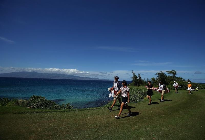 KAPALUA, HI - OCTOBER 16: Lorena Ochoa of Mexico, Morgan Pressel of the USA, and Annika Sorenstam of Sweden walk the fairway on the 5th hole during the first round of the Kapalua LPGA Classic on October 16, 2008 at the Bay Course in Kapalua, Maui, Hawaii. (Photo by Donald Miralle/Getty Images)