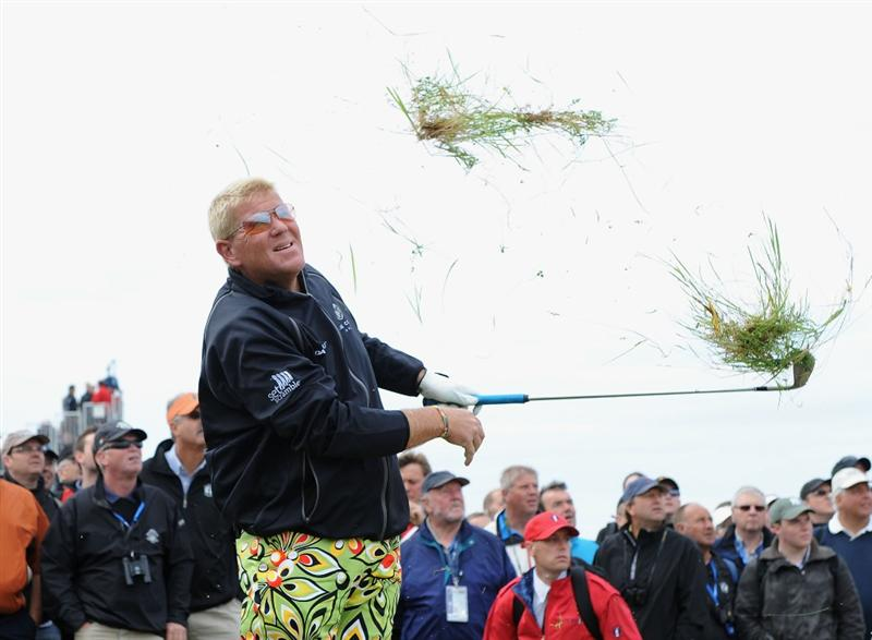 TURNBERRY, SCOTLAND - JULY 17:  John Daly of USA hits out of the rough on the 9th hole during round two of the 138th Open Championship on the Ailsa Course, Turnberry Golf Club on July 17, 2009 in Turnberry, Scotland.  (Photo by Harry How/Getty Images)