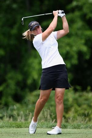 SPRINGFIELD, IL - JUNE 06:  Kristy McPherson hits a tee shot on the second hole during the third round of the LPGA State Farm Classic golf tournament at Panther Creek Country Club on June 6, 2009 in Springfield, Illinois.  (Photo by Christian Petersen/Getty Images)