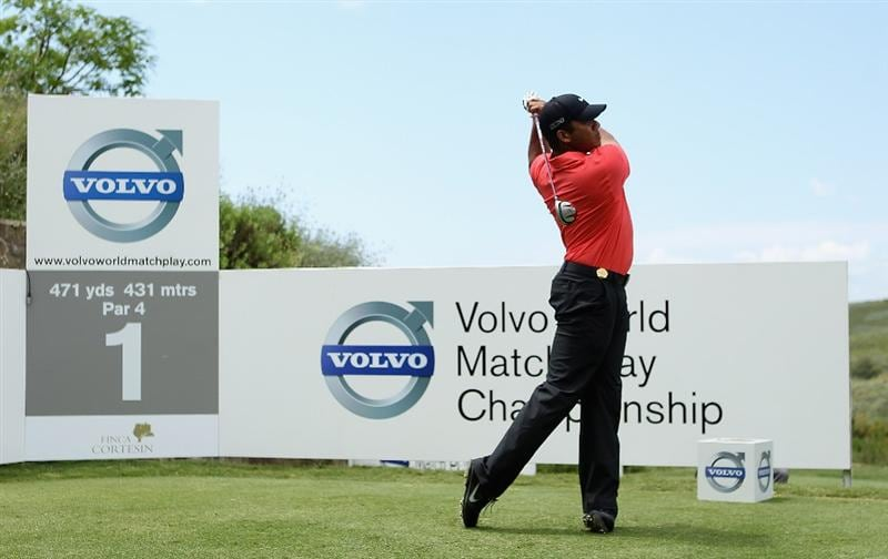 CASARES, SPAIN - MAY 20:  Jhonattan Vegas of Venezuela tees off on the first hole during the group stages of the Volvo World Match Play Championships at Finca Cortesin on May 20, 2011 in Casares, Spain.  (Photo by Warren Little/Getty Images)