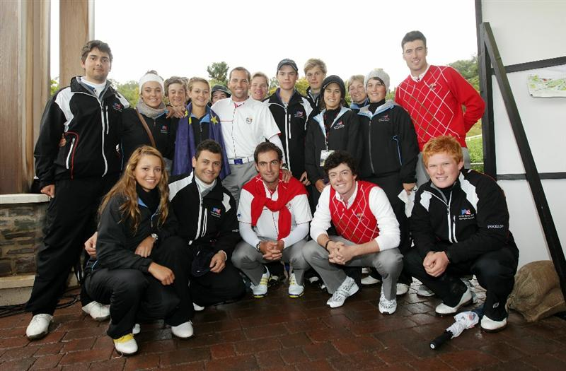 NEWPORT, WALES - OCTOBER 01:  The European Junior Ryder Cup team pose with Vice Captain Sergio Garcia, Edoardo Molinari, Rory McIlroy and Ross Fisher of Europe during the Morning Fourball Matches during the 2010 Ryder Cup at the Celtic Manor Resort on October 1, 2010 in Newport, Wales. (Photo by Andrew Redington/Getty Images)