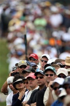 SAN DIEGO - JUNE 13:  Golf fans watch the play of the Tiger Woods, Phil Mickelson and Adam Scott group during the second round of the 108th U.S. Open at the Torrey Pines Golf Course (South Course) on June 13, 2008 in San Diego, California.  (Photo by Donald Miralle/Getty Images)