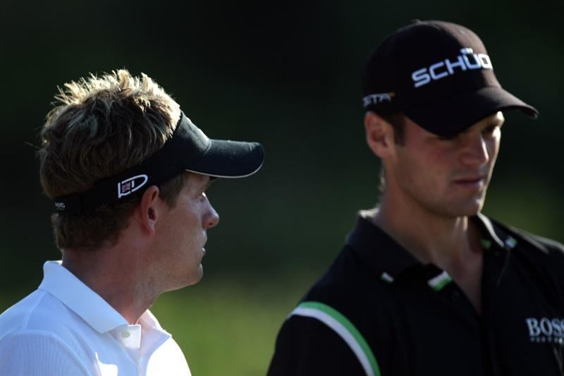 CASARES, SPAIN - MAY 22:  Luke Donald of England and Martin Kaymer of Germany during the semi-final of the Volvo World Match Play Championship at Finca Cortesin on May 22, 2011 in Casares, Spain.  (Photo by Ross Kinnaird/Getty Images)
