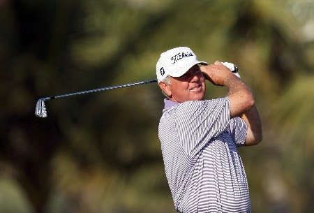 DUBAI, UNITED ARAB EMIRATES - JANUARY 30:  Mark O'Meara of the USA hits his second shot at the 13th hole during the Dubai Desert Classic Pro-Am, on the Majilis Course at the Emirates Golf Club, on January 30, 2008 in Dubai, United Arab Emirates.  (Photo by David Cannon/Getty Images)