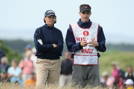 ST ANDREWS, UNITED KINGDOM - AUGUST 04:  Wendy Ward of USA waits with her caddy on the 12th hole during the Third Round of the 2007 Ricoh Women's British Open held on the Old Course at St Andrews on August 4, 2007 in St Andrews, Scotland. (Photo by David Cannon/Getty Images)