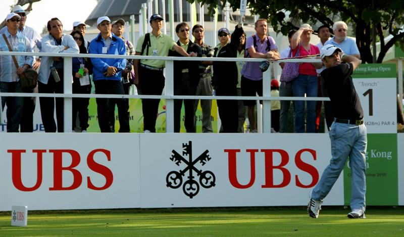 HONG KONG - NOVEMBER 20: Paul Mcginley of Ireland plays a tee shot on the 1st hole during day three of the UBS Hong Kong Open at The Hong Kong Golf Club on November 20, 2010 in Hong Kong, Hong Kong.  (Photo by Stanley Chou/Getty Images)
