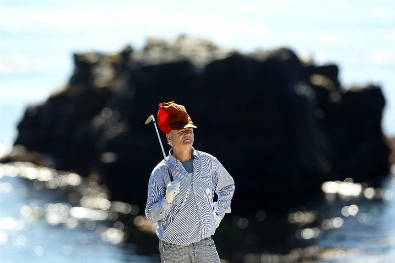 PEBBLE BEACH, CA - FEBRUARY 12:  Actor Bill Murray waits to hit on the 8th hole during the third round of the AT&T Pebble Beach National Pro-Am at the Pebble Beach Golf Links on February 12, 2011 in Pebble Beach, California.  (Photo by Ezra Shaw/Getty Images)