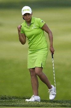 WILLIAMSBURG, VA - MAY 12:  Dorothy Delasin reacts to sinking her chip shot on the 15th hole in Round 3 of the LPGA Michelob ULTRA Open at Kingsmill on May 12, 2007, in Williamsburg, Virginia.  (Photo by Jonathan Ernst/Getty Images)