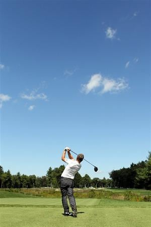NORTON, MA - SEPTEMBER 04:  Luke Donald of England hits a shot on the seventh tee during the second round of the Deutsche Bank Championship at TPC Boston on September 4, 2010 in Norton, Massachusetts.  (Photo by Mike Ehrmann/Getty Images)
