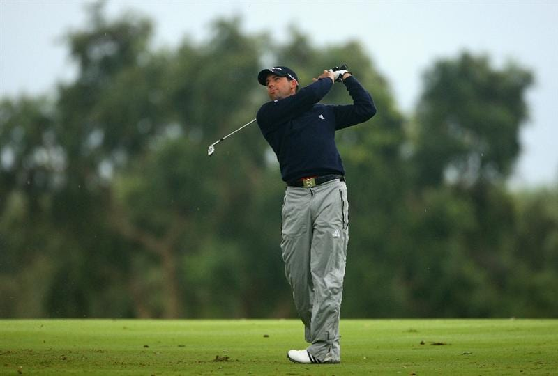 SOTOGRANDE, SPAIN - NOVEMBER 01:  Sergio Garcia of Spain hits his second shot on the second hole during the second round of the Volvo Masters at Valderrama Golf Club on November 1, 2008 in Sotogrande, Spain.  (Photo by Andrew Redington/Getty Images)