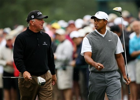 AUGUSTA, GA - APRIL 07:  Mark O'Meara and Tiger Woods walk along a fairway during the first day of practice prior to the start of the 2008 Masters Tournament at Augusta National Golf Club on April 7, 2008 in Augusta, Georgia.  (Photo by Andrew Redington/Getty Images)
