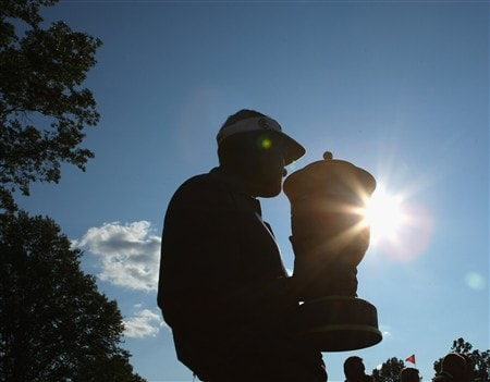 AKRON, OH - AUGUST 03:  Vijay Singh of Fiji holds the trophy after winning the World Golf Championship Bridgestone Invitational on August 3, 2008 at Firestone Country Club in Akron, Ohio.  (Photo by Stuart Franklin/Getty Images)
