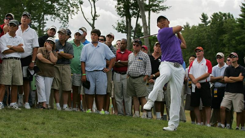 NORTON, MA - AUGUST 29:  Anthony Kim plays a shot from the rough during the first round of the Deutsche Bank Championship at TPC of Boston held on August 29, 2008 in Norton, Massachusetts.  (Photo by Michael Cohen/Getty Images)