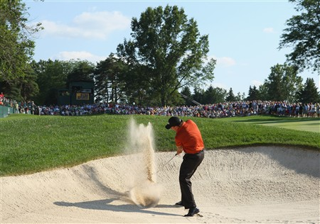 AKRON, OH - AUGUST 03:  Phil Mickelson of USA plays his bunker shot on the 17th hole during final round of the World Golf Championship Bridgestone Invitational on August 3, 2008 at Firestone Country Club in Akron, Ohio.  (Photo by Stuart Franklin/Getty Images)