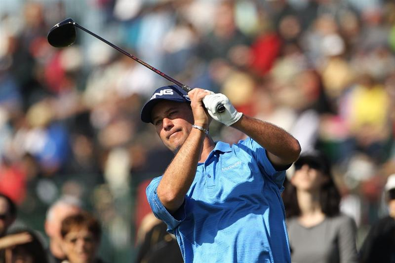 PEBBLE BEACH, CA - FEBRUARY 13:  Chris DiMarco tees off on the 9th hole during round three of the AT&T Pebble Beach National Pro-Am at Pebble Beach Golf Links on February 13, 2010 in Pebble Beach, California.  (Photo by Ezra Shaw/Getty Images)