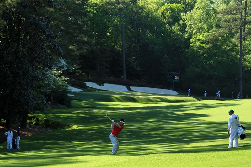 AUGUSTA, GA - APRIL 09:  Y.E. Yang of South Korea hits a shot on the 13th hole during the second round of the 2010 Masters Tournament at Augusta National Golf Club on April 9, 2010 in Augusta, Georgia.  (Photo by David Cannon/Getty Images)