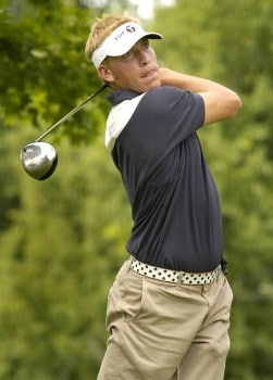 Ricky Barnes tees off on the third hole during the first round of the Nationwide Tour Xerox Classic in Rochester, N.Y., Thursday, Aug. 18, 2005.Photo by Kevin Rivoli/WireImage.com