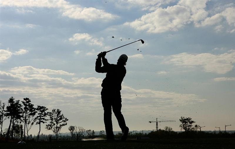 INCHEON, SOUTH KOREA - OCTOBER 31:  Maria Hjorth of Sweden hits a tee shot on the 3rd hole during the 2010 LPGA Hana Bank Championship at Sky 72 Golf Club on October 31, 2010 in Incheon, South Korea.  (Photo by Chung Sung-Jun/Getty Images)