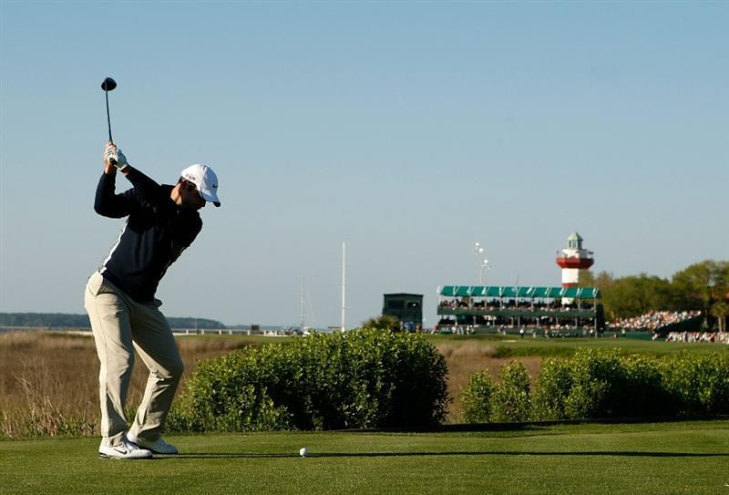 HILTON HEAD ISLAND, SC - APRIL 17:  Paul Casey of England hits his tee shot on the 18th hole during the second round of the Verizon Heritage at Harbour Town Golf Links on April 17, 2009 in Hilton Head Island, South Carolina.  (Photo by Streeter Lecka/Getty Images)