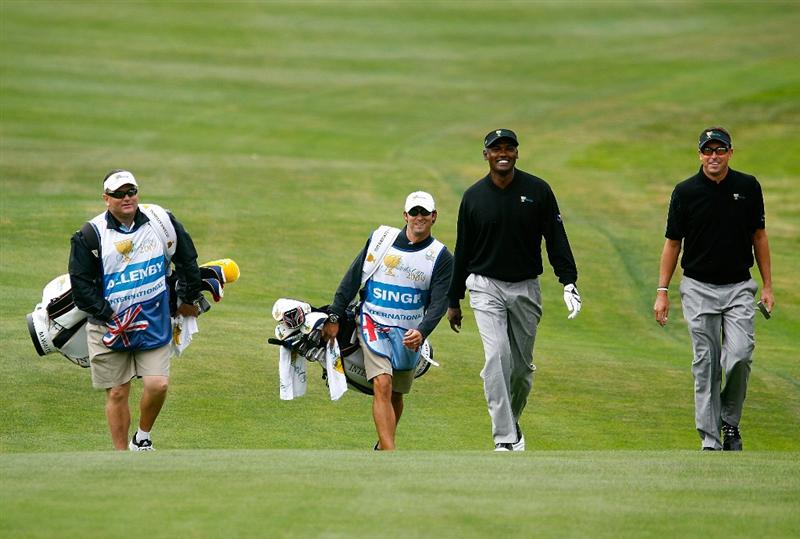 SAN FRANCISCO - OCTOBER 08:  Vijay Singh and Robert Allenby of the International Team walk towards the first green during the Day One Foursome Matches of The Presidents Cup at Harding Park Golf Course on October 8, 2009 in San Francisco, California.  (Photo by Scott Halleran/Getty Images)