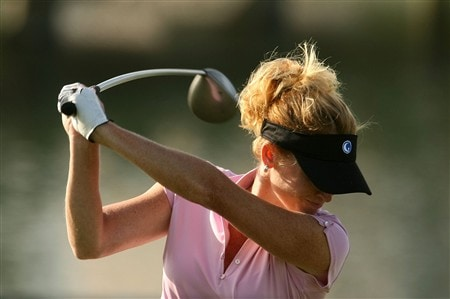 REUNION, FLORIDA - APRIL 18:  Stephanie Sparks from The Golf Channel hits her tee shot on the eighth hole during the second round of the Ginn Open at Reunion Resort on April 18, 2008 in Reunion, Florida.  (Photo by Scott Halleran/Getty Images)