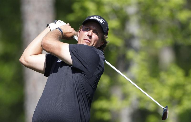 HUMBLE, TX - MARCH 31: Phil Mickelson hits a drive during the first round of the Shell Houston Open at Redstone Golf Club on March 31, 2011 in Humble, Texas.  (Photo by Michael Cohen/Getty Images)