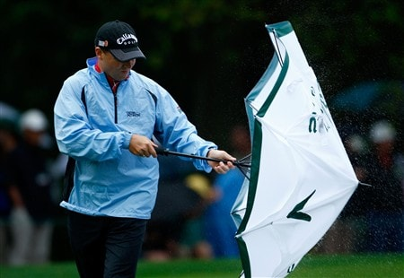 AUGUSTA, GA - APRIL 12:  Niclas Fasth of Sweden shakes his umbrella during the third round of the 2008 Masters Tournament at Augusta National Golf Club on April 12, 2008 in Augusta, Georgia.  (Photo by Jamie Squire/Getty Images)