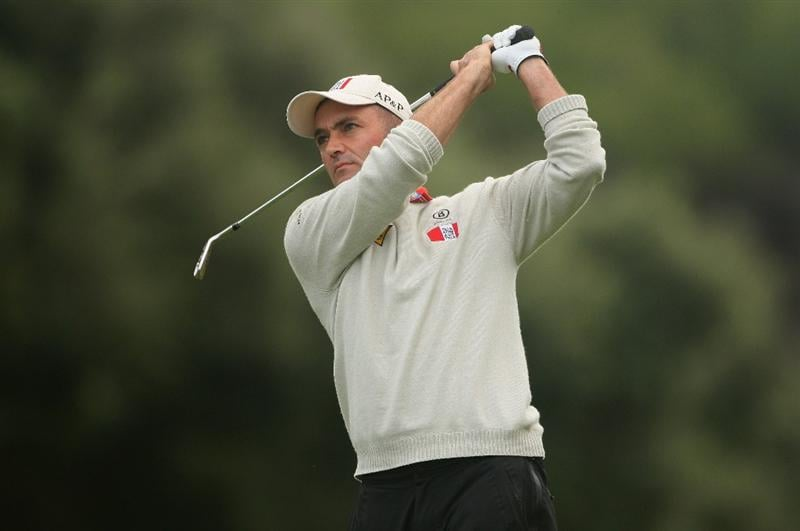 SOTOGRANDE, SPAIN - NOVEMBER 02:  Markus Brier of Austria plays his third shot on the 16th hole during the third round of the Volvo Masters at Valderrama Golf Club on November 2, 2008 in Sotogrande, Spain.  (Photo by Andrew Redington/Getty Images)