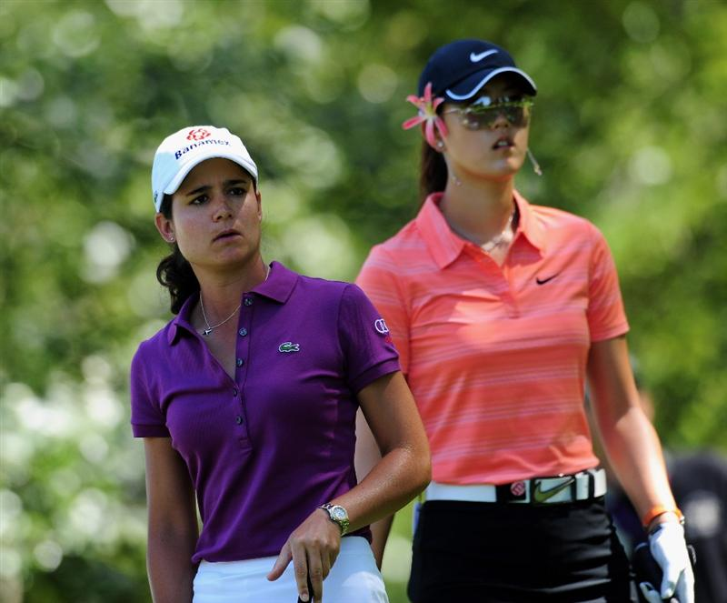 EVIAN-LES-BAINS, FRANCE - JULY 26:  Michelle Wie of USA and  Lorena Ochoa of Mexico during the final round of the Evian Masters at the Evian Masters Golf Club on July 26, 2009 in Evian-les-Bains, France.  (Photo by Stuart Franklin/Getty Images)