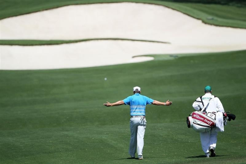 AUGUSTA, GA - APRIL 09:  Ricky Barnes walks with his brother/caddie Andy on the eighth hole during the second round of the 2010 Masters Tournament at Augusta National Golf Club on April 9, 2010 in Augusta, Georgia.  (Photo by Jamie Squire/Getty Images)