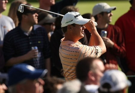 PACIFIC PALISADES, CA - FEBRUARY 16:  Jeff Quinney hits his tee shot on the 16th hole during the third round of the Northern Trust Open on February 16, 2008 at Riviera Country Club in Pacific Palisades, California.  (Photo by Stephen Dunn/Getty Images)