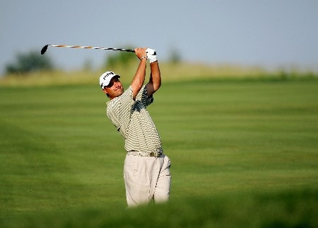 OAKMONT, PA - JUNE 14:  Chris DiMarco hits a shot from the fairway shot during the first round of the 107th U.S. Open Championship at Oakmont Country Club on June 14, 2007 in Oakmont, Pennsylvania.  (Photo by Ross Kinnaird/Getty Images)