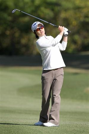 SHIMA, JAPAN - NOVEMBER 05:  Ji Eun-hee of South Korea plays an approach shot on the 13th hole during round one of the Mizuno Classic at Kintetsu Kashikojima Country Club on November 5, 2010 in Shima, Mie, Japan.  (Photo by Kiyoshi Ota/Getty Images)