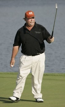 Craig Stadler acknowledges the fans after his final round of the 3M Championship, August 7, 2005, held at the TPC of the Twin Cities, Blaine, Minnesota. Stadler finished one shot back of Tom Purtzer to tie for second place.Photo by Gregory Shamus/WireImage.com