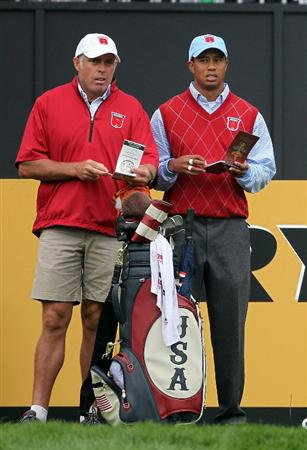 NEWPORT, WALES - SEPTEMBER 28:  Tiger Woods of the USA looks on with caddie Steve Williams during a practice round prior to the 2010 Ryder Cup at the Celtic Manor Resort on September 28, 2010 in Newport, Wales.  (Photo by Andy Lyons/Getty Images)